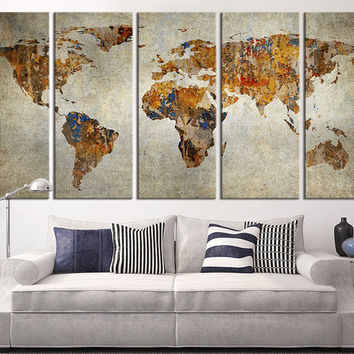 Large Canvas Print Rustic World Map, Large Wall Art World Map Art, Extra Large Vintage World Map Print for Home and Office Wall Decoration