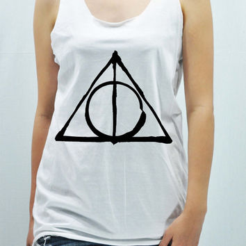 Deathly Hallows - Harry Potter Tank Top unisex handmade silk screen printing