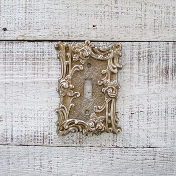 vintage light switch cover brass light switch plate mid century light switch plate metal light switch - Decorative Light Switch Covers