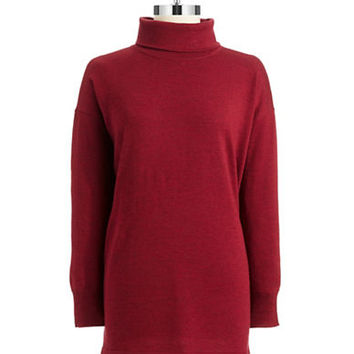 Eileen Fisher Petite Merino Wool Turtleneck Tunic Top