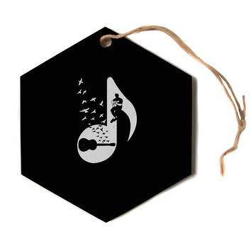 """BarmalisiRTB """"Musical Note - Acoustic Guitar""""  Hexagon Holiday Ornament"""