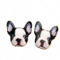 PRESELL -Black White French Bulldog Dog Face Stud Gold Earrings