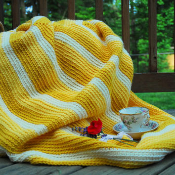 Afghan Lap Blanket  Hand Crocheted  Yellow