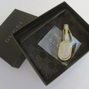 Gucci White Leather Key Ring Vintage Accessory