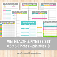 Mini Health and Fitness Set - 8.5 x 5.5 size, Organizing Printables, Health Tracker, Workout Planner, Weight Loss Chart, INSTANT DOWNLOAD