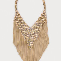 bebe Womens Chainmail & Fringe Necklace Gold