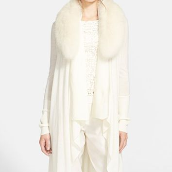 Women's Alice + Olivia 'Azaria' Wool & Cashmere Sweater with Genuine Fox Fur Collar,