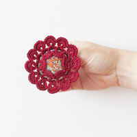 Burgundy flower crochet brooch Fiber art Fabric jewelry Vintage inspired Summmer fashion Boho chic accessory Unique gift