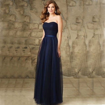 2017 Navy Long Bridesmaid Dresses Simple Tulle Strapless Wedding Guest Formal Dress Women Dress Summer Style for Party Dress