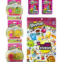 Shopkins Activity Bundle: Sticker Book, Set of 3 Puzzle Erasers & 2 Season 2 Blind Baskets