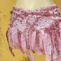 bohemian inspired sweet pink leather skirt/belt with by wildskin