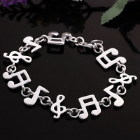 925 Sterling Silver Charm Music Note Bracelet