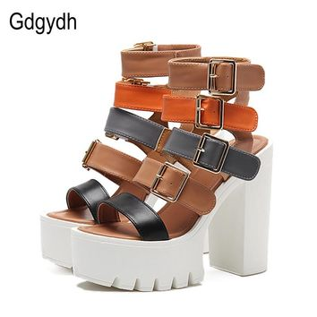 Womens Sandals High Heels Summer Fashion Buckle Female Gladiator Sandals Platform Shoes