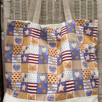 Custom Cat Tote Bag Purse, Knitting or Crocheting Bag, Patriotic Blue Red White Stars, Paws, Hearts, Shopping, Beach, Picnic, Sports Bag