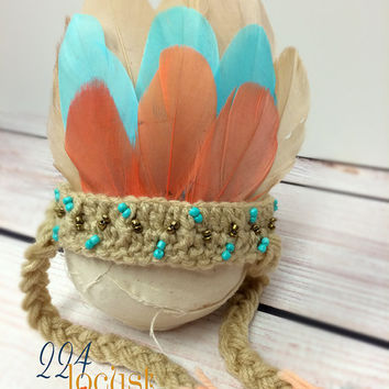 Indian, Indian Headdress, Head Dress, Newborn Headdress, Coral and Teal Indian, Newborn, Feather Headdress, Photo Prop, Photography Prop