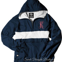 Monogrammed Rain Jacket Pullover~ Personalized Rain Jacket Pullover~ Lined Jacket Pullover - 10 colors - Rugby Style