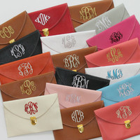 Monogrammed Clutch Purse with Detachable Metal Chain Personalized Custom Embroidered Christmas Gift