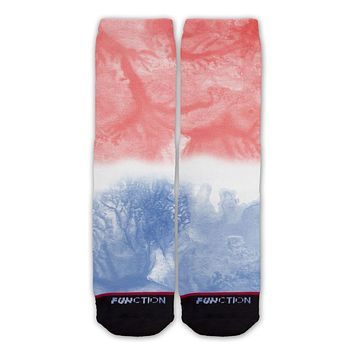 Function - Patriotic Red White and Blue Tie Dye Watercolor Fashion Socks