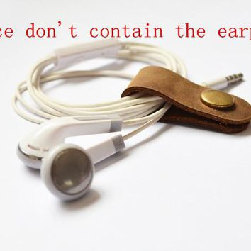 earphone winder cable manager Data line winder Leather storage(don't contain the earphone)