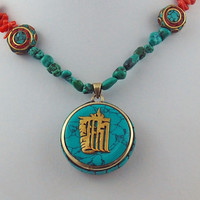 Tibetan Om Pendant with Coral Turquoise and Tibetan Mosaic Bead Necklace, Rustic Buddhist Necklace, Statement Necklace
