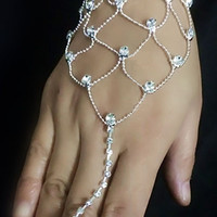 Net Rhinestone Wedding Bracelet Jewelry