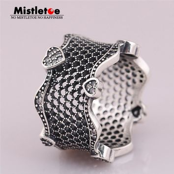 Mistletoe 100% 925 sterling Silver Enchanted Crown Ring, Clear CZ & Black Crystals European Jewelry