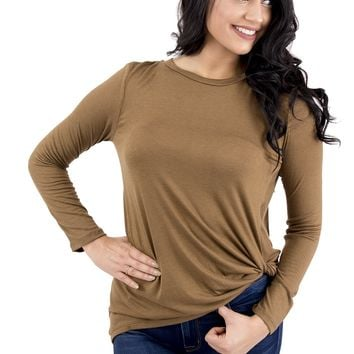 Women's Long Sleeve Tee with Side Knot Detail