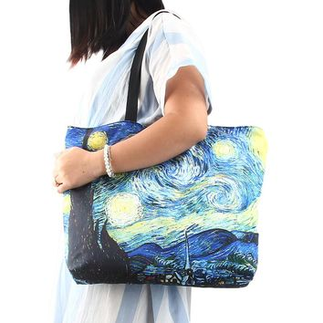 "Starry Night Large Shoulder Tote Bag Handbag Canvas Shopping Beach Grocery, 13""x17"""