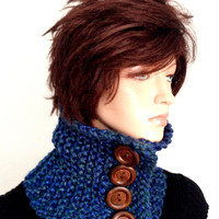 Knitted Chunky Style Neckwarmer in Ocean