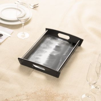 Watercolor landscape painting Black And White Serving Tray
