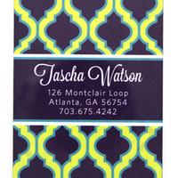 Personalized Luggage Tag Set of 2- Quatrefoil Pattern