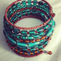 Wrap Beaded Multi Blue and Brown Bracelet