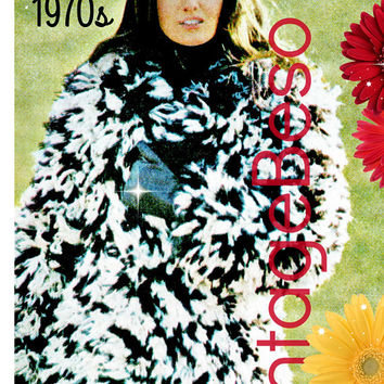 DIGITAL PATTERN • Fake Fur Jacket KNITTING Pattern • PdF Pattern • Jacket Pattern • Vintage 1970s Super Fun Coat Retro Ladies Sexy Faux Fur