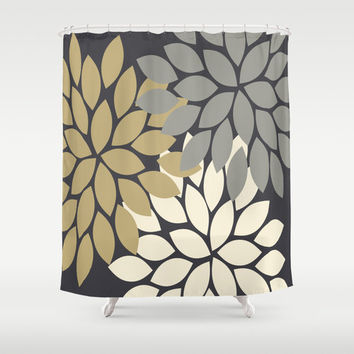 Charcoal Gray Gold Linen Shower Curtain From HoneyDesignStudio On