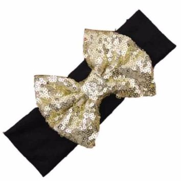 Black & gold jumbo sequin bow baby headband
