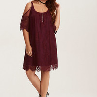 Burgundy Lace Cold Shoulder Trapeze Dress