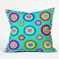 Lisa Argyropoulos Love Love Love Aquamint Outdoor Throw Pillow