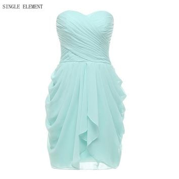 Mint Bridesmaid Dresses 100% Real Photo Short Country Maid of honor Dress Chiffon A LineSweetheart Wedding Guest Wear
