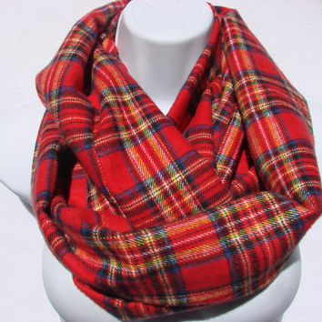 Red Plaid Infinity Scarf, Flannel Infinity Scarf, Green Navy Black Yellow Cotton, Christmas Nomand Cowl Woman Man Unisex Fall Winter Fashion