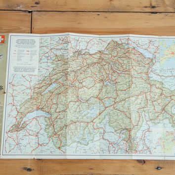 Vintage Map of Switzerland