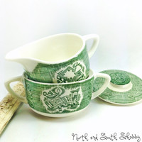 Old Curiosity Shop Lidded Sugar and Creamer Set Dickens Inspired Vintage Transferware Serveware by Royal China