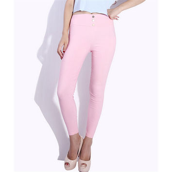 Women Skinny High Waist Leggings Stretchy Sexy Pants Pencil Jeggings Hot sale One size pink