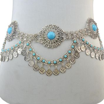Ethnic Gypsy Retro Silver Plated Alloy Belt Boho Sexy Coin Tassel Resin Beads Waist Belly Body Chain Waist Chain Body Jewelry