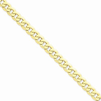 14K Yellow Gold Beveled Curb Chain Anklet