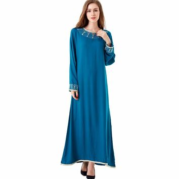 muslim Kaftan Maxi black Long sleeve long Dress moroccan clothing Islamic abaya arab dubai jalabiya autumn Robe women gown 1623