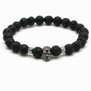 Black Beads Natural Stones Skull Bracelet For Women Lava Stone Beads Men Bracelet Black Lava Beads Bracelets Pulseras Mujer