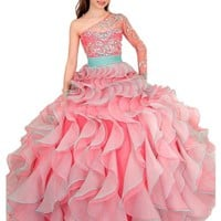Y&C Girls' One Shoulder Ball Gown Pageant Dresses