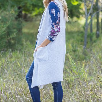 Get Lost Grey Pleaded Draped Sleeveless Cardigan