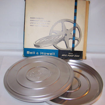 Vintage Bell & Howell 8mm Aluminum Film Canister, 400 foot Reel, New in Original Box, Chicago, Made in USA, Retro
