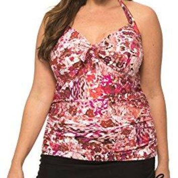 Beach Party Womens Plus Size Halter Tankini with Adjustable Tie Back and Matching Skirt Bottom